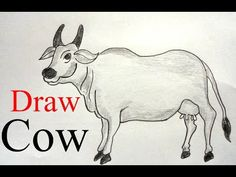 How to draw a cow step by step Cow Drawing Easy, Easy Drawings, Easy Youtube, Kolam Designs, Moose Art, Anklet, Blouse, Collection, Blouse Band