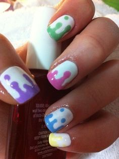 How to do your nails like this? Easy! Use a bobby pin to make the dots, then drag it down and connect the colored polish at the bottom. by thelma