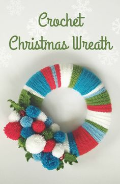 This gorgeous Christmas wreath is crocheted in blue, green, white and red. Then adorned with holly leaves, pom poms and jingle bells. Too cute!