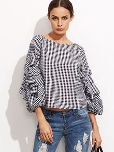 Women Casual Shirts Tops Sleeve Shirt Loose Blouse Ladies Office Shirts Black Gingham Billow Sleeve Top Blouse Oh just take a look at this! Visit our store Jumpsuits For Women, Blouses For Women, The Office Shirts, Mode Hijab, Shirt Sleeves, Casual Shirts, Fashion Outfits, Women's Fashion, Tops