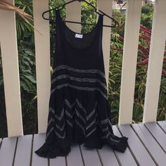 FP Intimately Dress FP intimately dress/slip w/ lace embroidered. Brand new, never worn. Super cute black/grey combo. Can be worn as dress or top, perfect for layering w/ kimono cover, leggings, or thigh high boots for fall!! Free People Dresses Mini