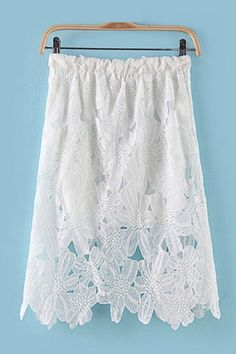 Gorgeous Sexy Asymmetrical Hem Hollow-out White Lace Skirt #gorgeous #white_lace #skirt #fashion