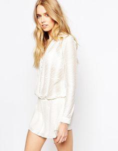 BA&SH Plunge Neck Transparent Mini Dress with Wrap Front Size 1-UK 8/EU 36/US 4