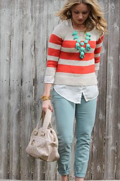 Red strips and turquoise