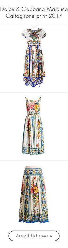 """""""Dolce & Gabbana Majolica Caltagirone print 2017"""" by sella103 ❤ liked on Polyvore featuring dresses, pattern dress, flare dress, asymmetrical hem dress, dolce gabbana dress, short-sleeve dresses, white print, white midi dress, mid calf dresses and white sleeveless dress"""