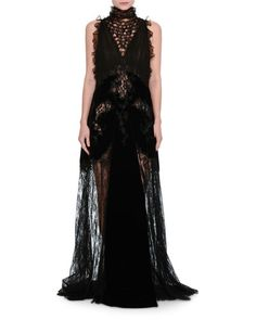 B3Y4L Valentino Lace & Chiffon Mock-Neck Gown with Velvet Trim, Black