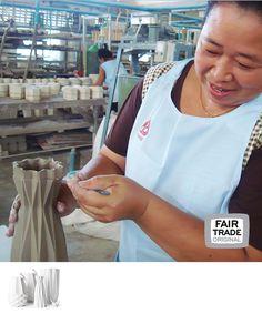 Origami vaas, keramiek, Thailand, Fair Trade Original