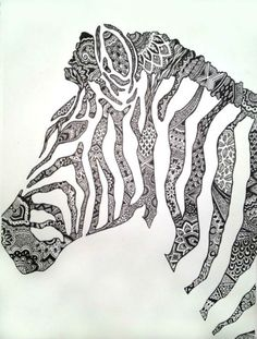 "ME GUSTAN LAS TEXTURAS ...Saatchi Art Artist: Cady Bogart; Pen and Ink Drawing ""Zebra"""