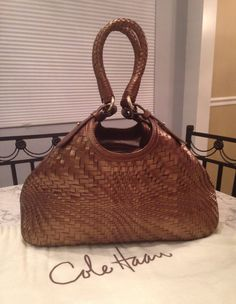 Cole Haan Genevieve MINT Woven Leather Hobo Tote Satchel Shoulder Hand Bag Purse #ColeHaan #TotesShoppers GORGEOUS!!! BEAUTIFUL WOVEN LEATHER WEAVE TRIANGLE BAG IN A STUNNING BRONZE BROWN / COPPER BROWN COLOR!!! SALE!!! WOW!!!