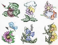 Animated Flowers for Dish Towels Vintage Hand Embroidery 1960s in PDF format Instant Download by BlondiesSpot on Etsy