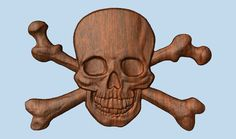 Pirate Decor ~ Pirate Skull and Bones ~ 3D Wooden Pirate Art ~ Skull and Crossbones ~ Halloween Decor ~ Pirate Wood Carving ~ 8 x 5 Inches