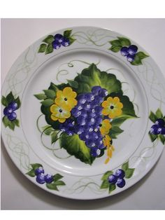 ONE STROKE DECORATIVE CERAMIC PLATE - BLUEBERRIES | Flickr - Photo Sharing!