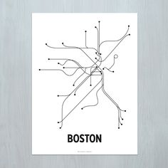 A modern graphic interpretation of the Boston mass transit system. Artwork based on the T and commuter rail lines.    18 x 24 Lithograph  Offset printed on 80# cover with black ink.  Made in Queens, NY.    Standard size for easy/affordable framing. Print ships rolled. Frame not included.