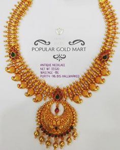 Gold Bridal Jewellery Sets, Gold Wedding Jewelry, Gold Jewellery Design, Pearl Necklace Designs, Antique Necklace, Gold Jewelry Simple, Simple Necklace, Gold Pendant, Pendant Jewelry