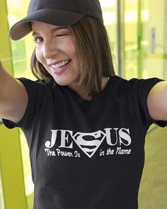 Jesus the power is in the name t shirts. Wear this jesus shirts and show everyone who you are. This is perfect christian t shirt gifts for you, friends and familly. Available with womens christian t shirts, hoodie, tank for men, women. Christian Tees, Christian Girls, Christian Clothing, Christian Quotes, Womens Christian T Shirts, Christian T Shirt Design, Christian Living, Christian Faith, Relationship Shirts