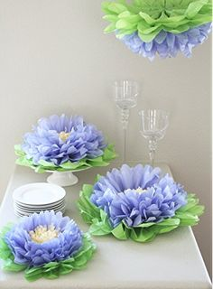 Girls Party Decorations - Set of 7 Purple Tissue Paper Flowers