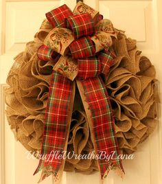 Christmas Burlap Wreath, Burlap Wreath, Christmas Wreath, Christmas Decoration, Front Door Decor by WruffleWreathsbyLana on Etsy