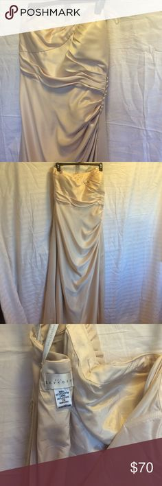 -Formal Dress 🔹Donating 🔜🔹Must Go! UsedChampagne strapless formal dress with flattering draped style accented with buttons on side. Zipper back. Tag says size 26, but there were alterations, and I would guess it fits more like a 20/22 (I was wearing a 20 in jeans at the time) Please look at 4th picture for measurements - (I'm not a professional at taking measurements 😉) the dress was lying flat and I took pictures at different points. Hem is coming out in a few places and I found a few…