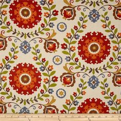 Curtains and panels are here at a great price.    Screen printed on medium/heavy weight linen cotton. Colors include red, orange, brown, blue,