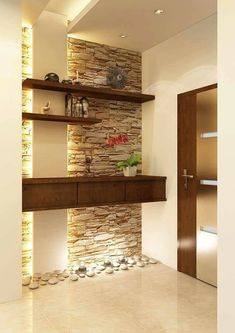 foyer design ideas – Home Interior Modern Kitchen Interiors, Interior Modern, Interior Walls, Interior Design Kitchen, Interior Decorating, Decorating Ideas, Stone Interior, Home Entrance Decor, House Entrance