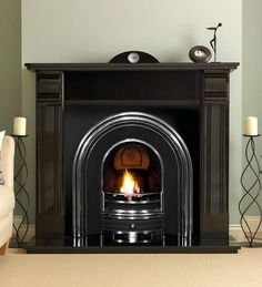 PureGlow Knighton Granite Fireplace Package with Cast Insert and gas fire