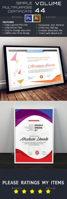 15 best Certificate of Appreciation Template PSD  Ai  PDF images on     Buy Simple Multipurpose Certificate by AslamHossain on GraphicRiver   Multipurpose Certificate of Appreciation   INTRODUCTION Simple Modern  Classy is a