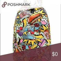 Junkfood backpack Hot dogs and sundaes!  Yum.  Canvas backpack with padded adjustable straps, front zipper compartment.  Standard book bag size.  New in packaging.  Price firm. Bags Backpacks
