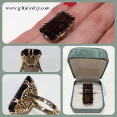 Almost like a woven basket this 1950's golden 14 karat mounting holds a large smoky quartz, perfect for any occasion! $795. #giltjewelry #vintage #cocktailring #ring #ringoftheday #smokyquartz #statementjewelry #golden