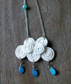 Polymer clay #raincloud #necklace