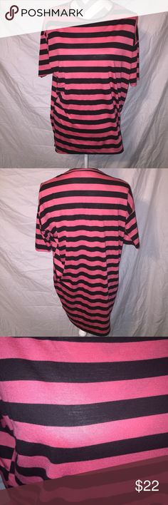 LulaRoe Irma pink and black striped tunic Oversized LulaRoe tunic in excellent condition. Pink and black stripes and slightly hi low hem. LuLaRoe Tops