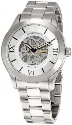 Emporio Armani AR4647 Meccanico Silver Dial Automatic Skeleton Watch For Men