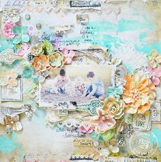 Shabby chic layered scrapbook layout