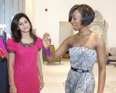 Beverly Knight the UK singer who was in Dubai last year is pictured here admiring a bracelet from the Meher & Riddhima accessories collection as CEO of Meher & Riddhima Meher Mirchandani looks on.