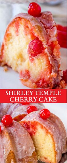 Relive your childhood memories with this easy shirley temple cake made in a bundt pan with cherry powdered sugar glaze. Shirley Temple Cake An Easy Bundt Cake Recipe with Maraschino Cherries via The Best Cake Recipes easy cake recipes Pound Cake Recipes, Best Dessert Recipes, Fun Desserts, Sweet Recipes, Delicious Desserts, Easy Pound Cake, Desserts With Cherries, Perfect Pound Cake Recipe, Best Cherry Cake Recipe