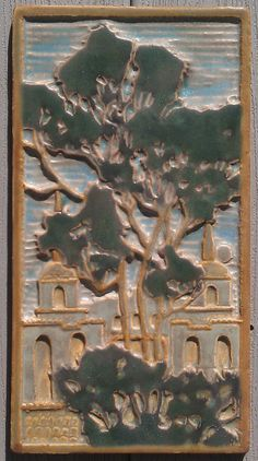 Eucalyptus Tree Arts & Crafts Tile by jmjtile on Etsy, $250.00