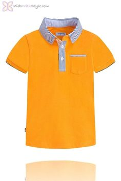 Polo shirt with short sleeves in knitted fabric combined with striped smooth poplin and soft washed off touch. External collar in contrast of textures and motif embroidery. Boys Summer Outfits, Summer Boy, Girl Outfits, Casual Outfits, Formal Shorts, Camisa Polo, Polo Shirt, Mens Tops, Bed Sets