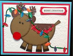 Punch Art Reindeer/Christmas Lights by craftiepants - Cards and Paper Crafts at Splitcoaststampers