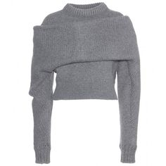 Balenciaga Wool and Angora Knit Sweater (4 757 AUD) ❤ liked on Polyvore featuring tops, sweaters, shirts, jumpers, grey, knit sweater, gray knit sweater, woolen sweater, wool sweater and shirt sweater