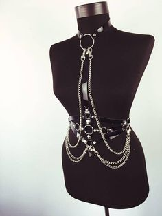 Leather Body Harness with Chains Chest Harness Leather Top