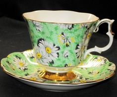 Royal Albert England Green Daisy Chintz Un-Named   Lady Jane