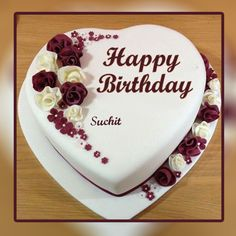 White Heart Happy Birhtday Cake With Name Happy Birthday Cake Writing, Heart Shaped Birthday Cake, 22nd Birthday Cakes, Birthday Cake Write Name, Happy Birthday Chocolate Cake, Online Birthday Cake, Birthday Wishes With Name, Happy Birthday Cake Pictures, Happy Birthday Wishes Cake