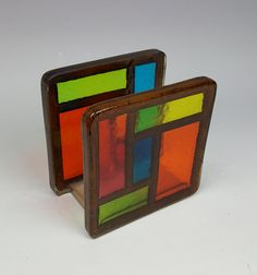 Vintage acrylic resin napkin holder bright stained glass and wood 1970s pop geometric design by CircularVintage on Etsy