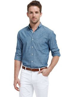 Again, too lumberjack-y? Done right, I think the chambray shirt is a great look. Please just don't wear it with jeans!