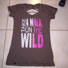 BROWN AND PURPLE take a walk on the wild side Tops Tees - Short Sleeve