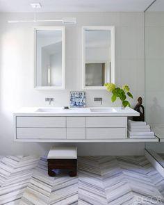 Minimalist Bathroom Storage - I like THIS vanity with some towel storage next to bathtub Gray And White Bathroom, Grey Bathrooms, Beautiful Bathrooms, Small Bathroom, Bathroom Ideas, Bathroom Gallery, Bathroom Pictures, Wood Bathroom, Basement Bathroom