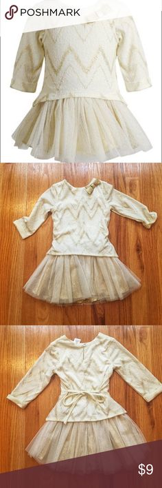 Youngland - Gold and Ivory Layered Tulle Dress Sparkling gold accents make this coordinated dress a must-wear for all sorts of special occasions. Work once and in excellent condition!  Details: Size - 4 100% Polyester Youngland Dresses Formal