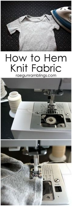 Sewing Techniques Couture The Secret to Hemming Knit Fabric (it's all in what type of thread you use) - Rae Gun Ramblings - How to Hem Knits the trick is all about what thread you use! Sewing Hacks, Sewing Tutorials, Sewing Crafts, Sewing Tips, Serger Sewing, Sewing Ideas, Sewing Stitches, Sewing Basics, Sewing Lessons