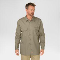 Dickies Men's Big & Tall Original Fit Long Sleeve Twill Work Shirt- Khaki (Green) Xxl Tall