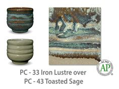 More restrained, but similar to a regular blue glaze, Iron Lustre is brown where thin with blue-gray floats where thick. It is beautiful on texture and layers well with other Potter's Choice glazes.  Due to the powdered nature of the materials involved with the dry-mix dipping buckets of this product, their respective health information and labels differ from the brushing glazes.