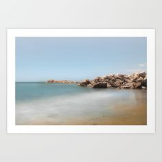 Collect your choice of gallery quality Giclée, or fine art prints custom trimmed by hand in a variety of sizes with a white border for framing. rocks, nature, coastal, landscape,beach, ocean, sea, tapestry, blue, summer, sky, explore, travel, photo, photography, wanderlust, happy, beach tapestry, society6, art print, home decor, interior design, waves, sand